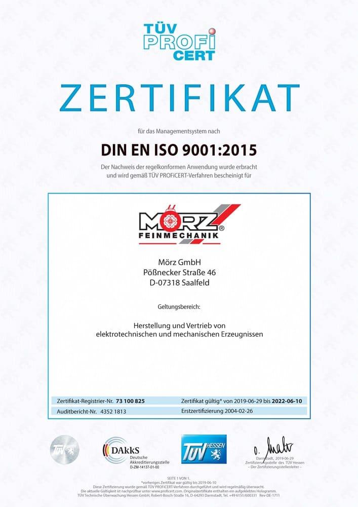 Mörz Feinmechanik Tüv Zertifikat